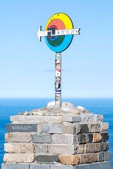 Norway, North Cape, Bricks, Blue, Sea, North Sea