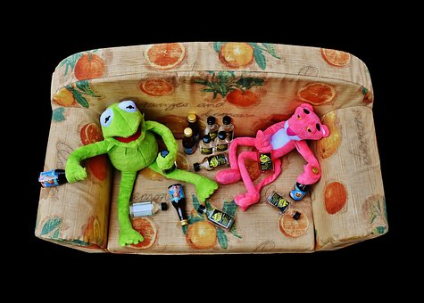 Kermit, The Pink Panther, Friends, Celebrate, Drunk