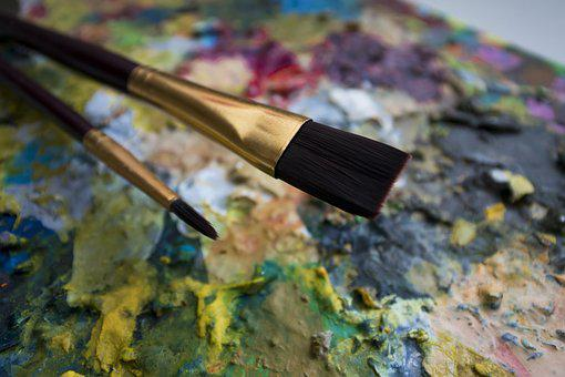 Brushes, A Variety Of, Palette, Colors, Art, Paint