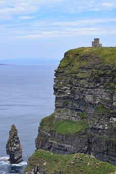 Cliff, Sea, Tower, Dramatic, Coastal, Ireland
