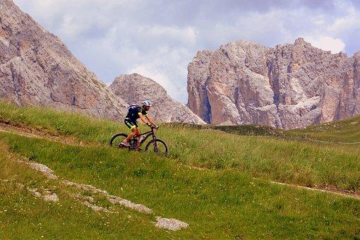Bicycle, Hiking, Mountain Biking, Dolomites, Mountain