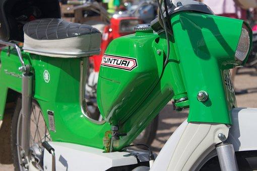 Moped, Classic, Old, Green, Vehicle, Tunturi
