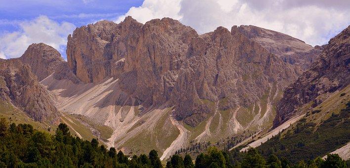 Dolomites, Mountain, Prato, Rock, Clouds, Sky, Nature