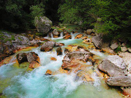 River, Water, Colors, Summer, Slovenia, Julian Alps