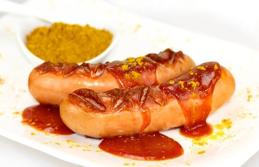 Currywurst, Sausage, Fast Food, Ketchup, Curry, Eat