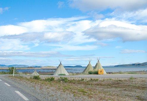 Norway, Road E69, Blue Sky, Clouds, Tepee, Sea, Nature