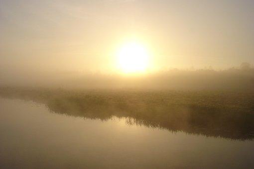 Morning, Fog, Sun, Sunrise, River, Water, Early Morning