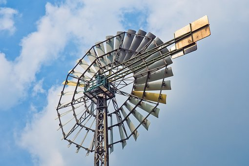 Pinwheel, Wheel, Wind, Wind Energy, Sky, Blue, Metal