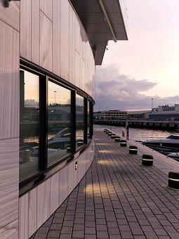Oslo, Tjuvholmen, Architecture, Window, Sunset