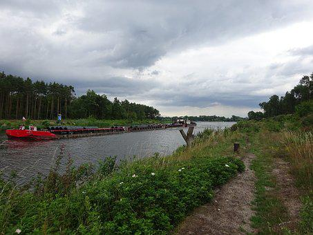 Channel, The Elbe-havel Canal, Barge, Boost, Clouds