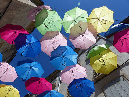 Umbrellas, Colorful, Blue Sky, Color, Art, Sunlight