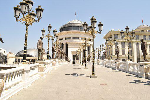 Macedonia, Skopje, Main Square, Bridge, Urban, City