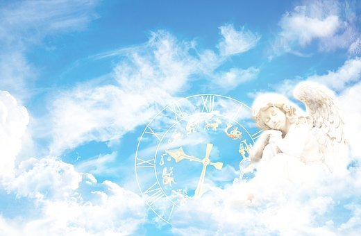 Fantasy, Angel, Clock, Composing, Clouds, Sky, Mystical