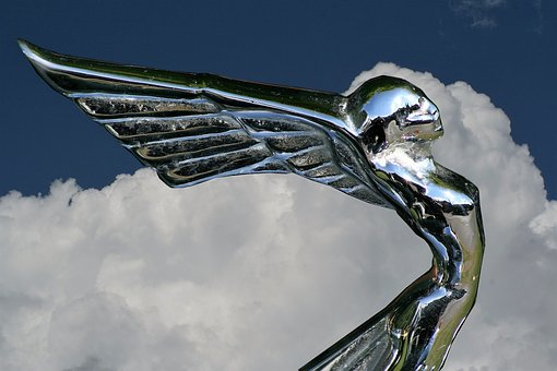 Car Mascot, Flying Lady, Metal, Sculpture