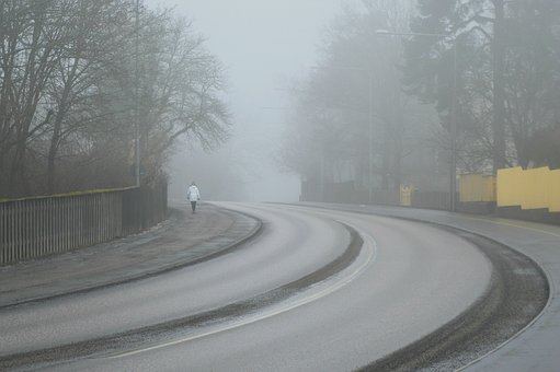 Curved, Road, Winter, Frost, Mist, Fog, Highway, Travel