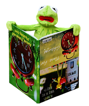 Kermit, Book, Picture Book, To Watch, Frog, Sit, Figure