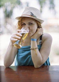 Girl, Beer, Happy, Beach, Lake, Summer, Lavender, Hat
