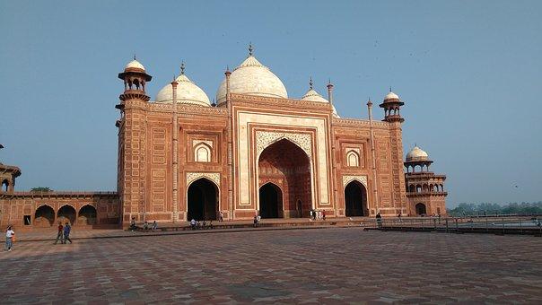 Taj, Mahal, Mosque, Red, White Stone, Work, Tourist