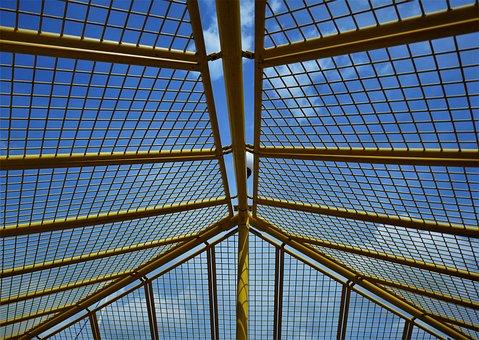 Grid, Steel Mesh, Lattice Roof, Yellow, Sky, Metal