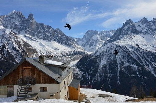 Mountain, House, Snow, Blue, Cloud, Nature, Landscape