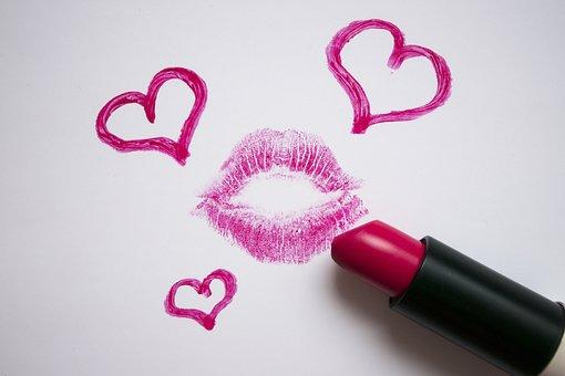 Lipstick, Lips, Imprint, Pink, Love, Hearts, Romance