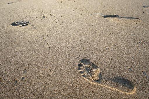 Sand, Beach, Foot, Footprint, Sea, Nature, Feet, Print