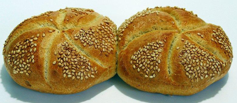 Sesame Seed Bun, Kaiser Roll, Breakfast, Roll, Crispy
