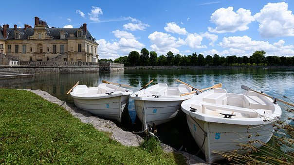 Fontainebleau, Rowboat, Water, Pond, Recreation, Row