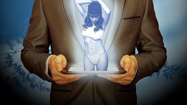 Tablet, Woman, Sexy, Man, Suit, Business, 3d