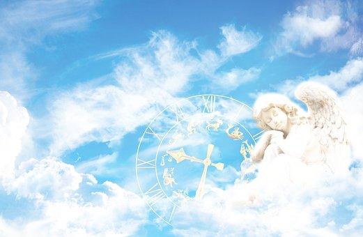 Fantasy, Angel, Clock, Composing, Clouds, Sky, Mystical