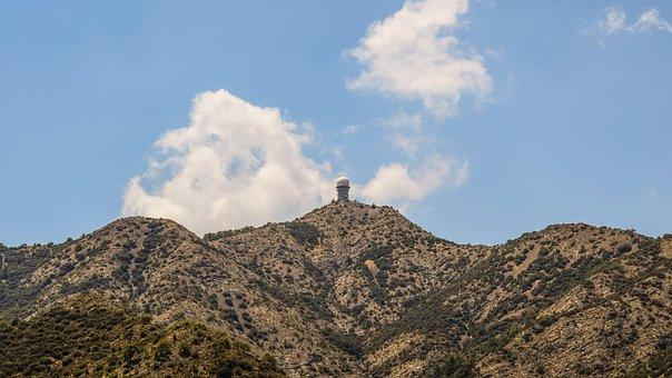 Mountain, Peak, Sky, Clouds, Radar, Tower, Landscape