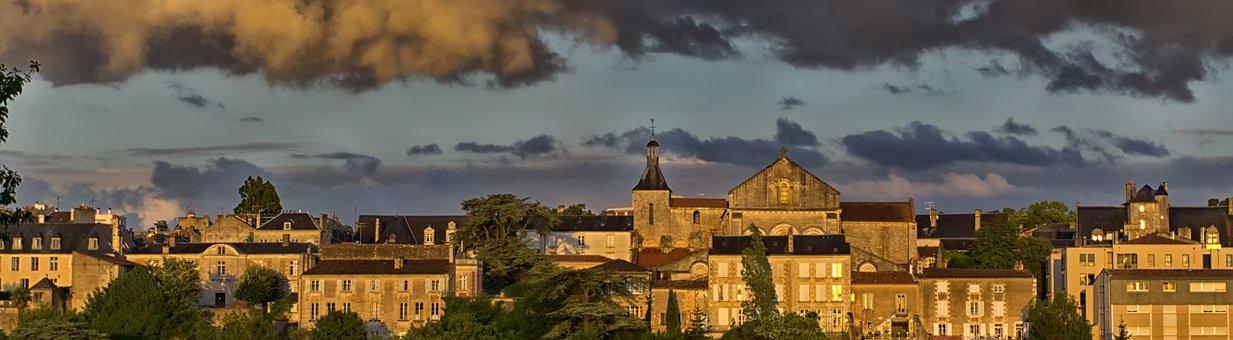 Poitiers, City, Summer, Clouds, Sky, Grey, Storm