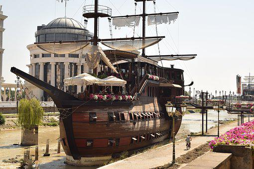 Ship, Skopje, Main Square, River, City, Urban