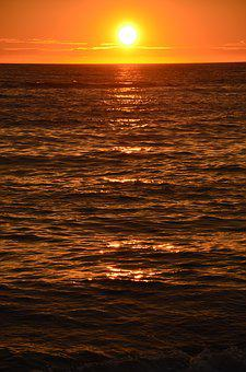 Denmark, Sunset, North Sea, Sea, Water, Evening Sky