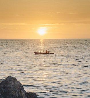 Beach, Boat, Sunset, Goldenhour