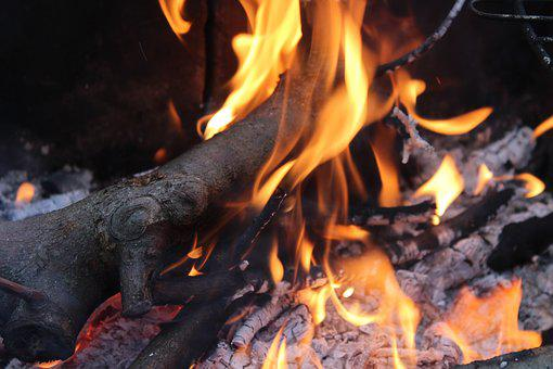 Fire, Flames, An Outbreak Of, Censer, Glow, Hot, Wood
