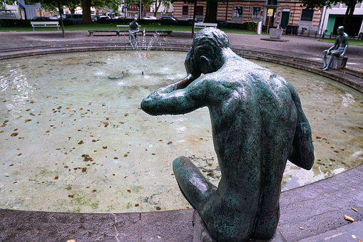Fountain, Figure, Statue, Zurich, Water Feature, Water