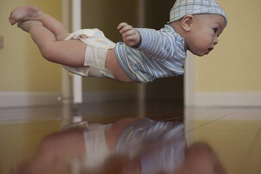 Baby, Flying, Floating, Happy, Sky, Little, Cute, Boy