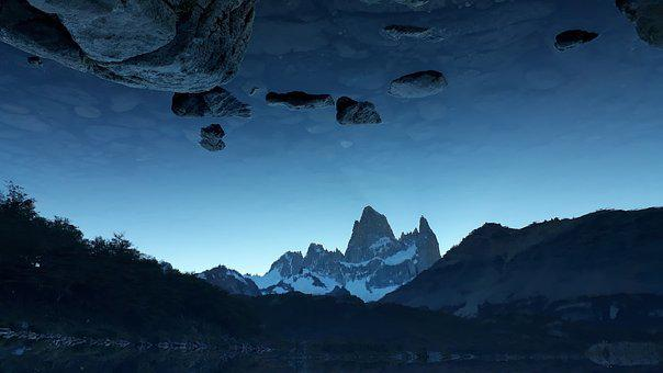 Surrealism, Lake, Landscape, Surreal, Rocks, Clouds