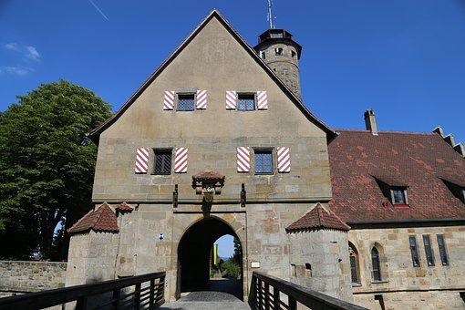 Castle Gate, Castle Entrance, Bridge, Moat, Middle Ages