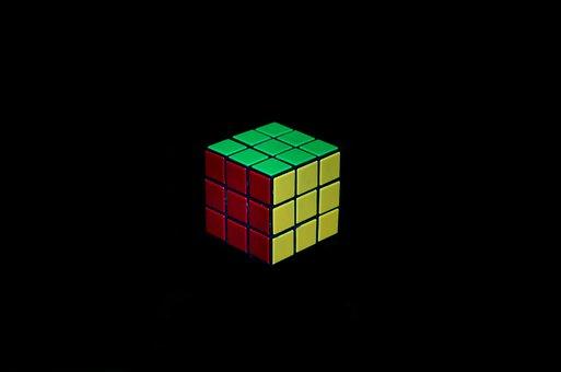 Rubik's Cube, Black Background, Red, Green, Yellow