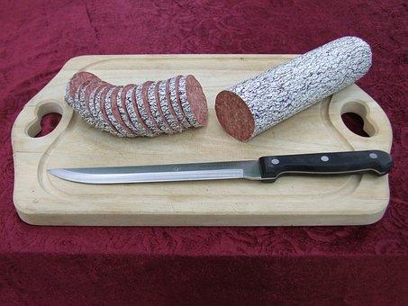 Salami Tactics, Sausage, Discs, Knife, Cut, Red