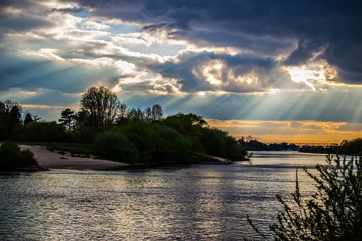 Weser, River, Water, Northern Germany, Landscape, Sky