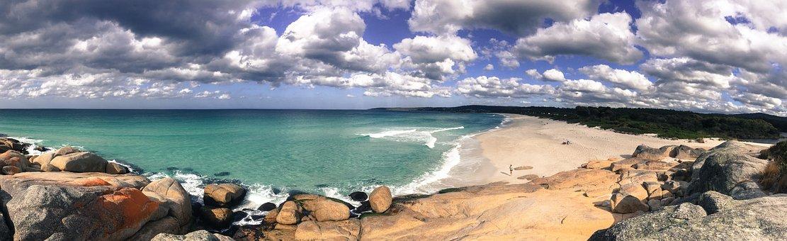 Panoramic, Beach, Water, Sand, Summer, Sea, Stone
