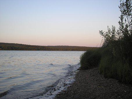 River, Beach, Evening, Sunset, Sky, The Bushes, Branch