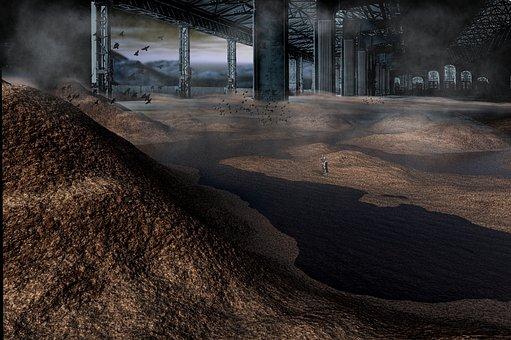 Landscape, Planet, Warehouse, Futuristic, Apocalyptic