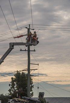 Workers, Men, Linesmen, Electricity, Repair