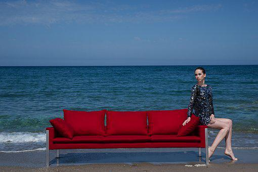 Model, Furniture, Red, The Young Woman, Young Girl