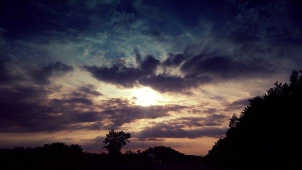 The Night Sky, Sunset, Glow, Background, Nature