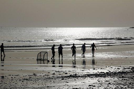 Beach, Sea, Water, Coast, Play Soccer, Silhouette